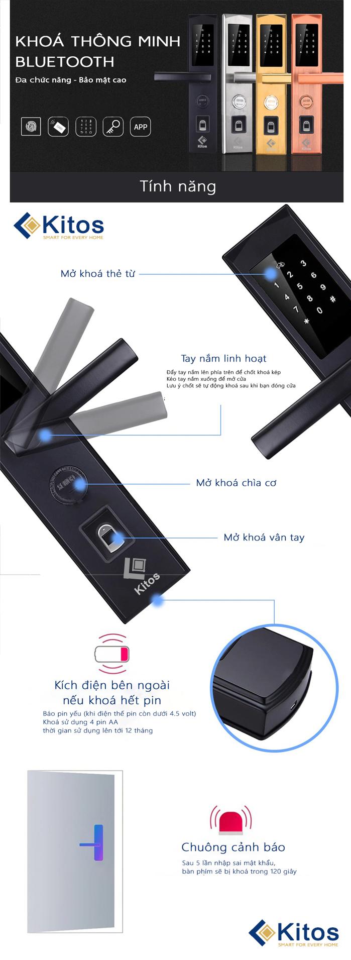 Khóa cửa vân tay Wifi Kitos KT-WF30