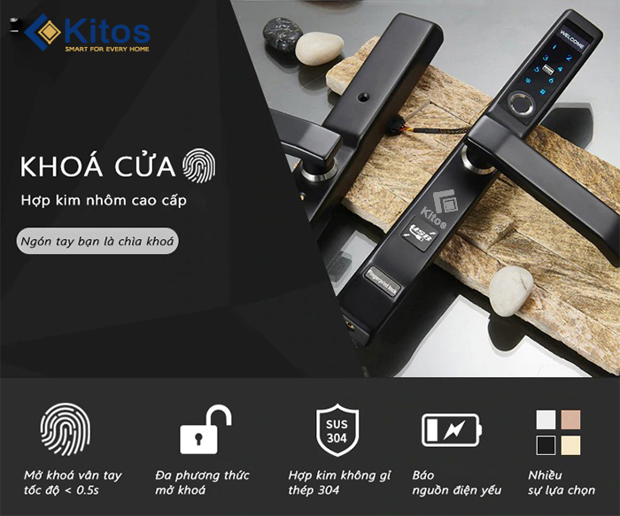 Khóa vân tay cửa nhôm kính xingfa Kitos KT-AL410