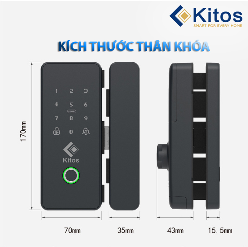 Khóa vân tay cửa kính Kitos GL22